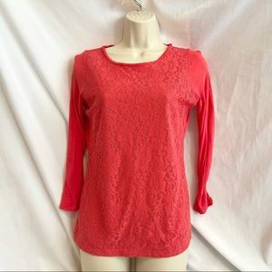 Red Floral Lace Top